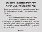 students imported from aim not in student count for anb