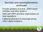 services and accomplishments continued1