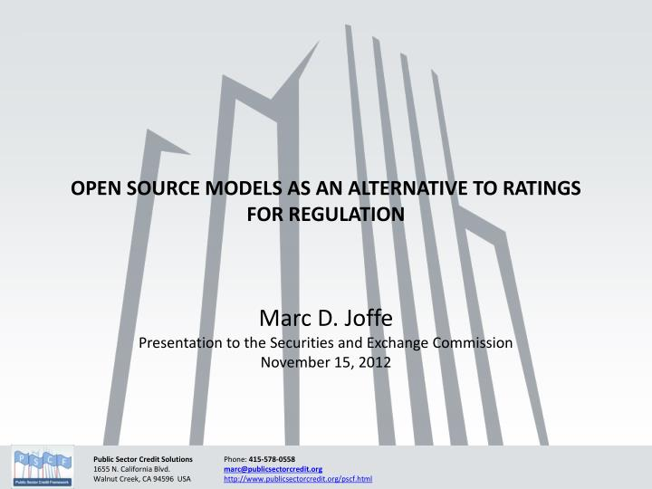 open source models as an alternative to ratings for regulation n.