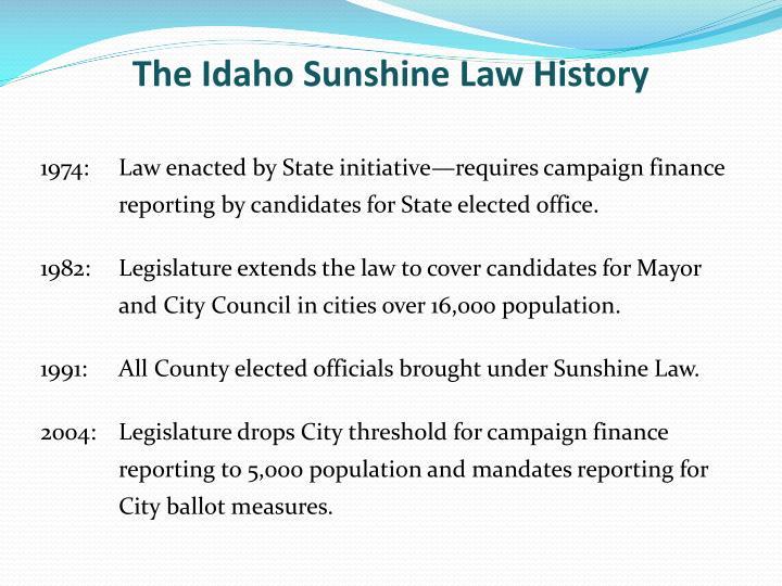 The Idaho Sunshine Law History