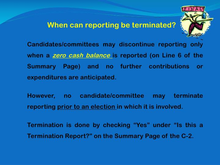 When can reporting be terminated?
