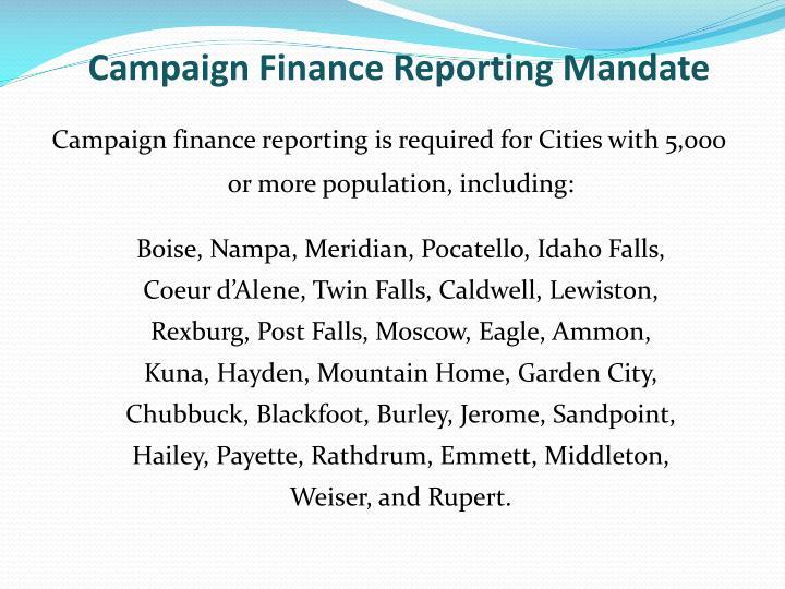 Campaign Finance Reporting Mandate