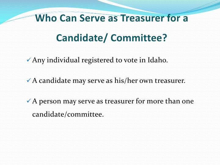 Who Can Serve as Treasurer for a Candidate/ Committee?