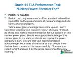 grade 11 ela performance task nuclear power friend or foe8