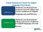 overall assessment claims for english language arts literacy