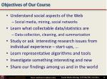 objectives of our course