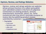 opinion review and ratings websites