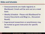 slides and schedule
