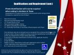qualifications and requirement cont