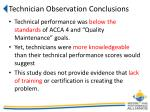 technician observation conclusions