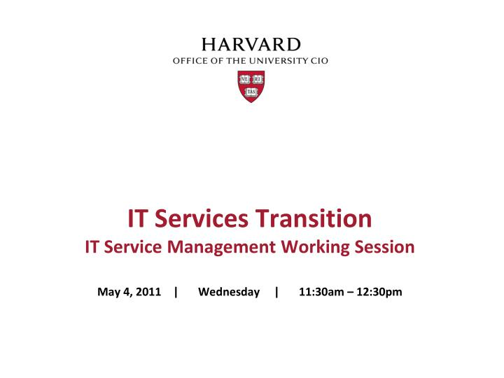 it services transition it service management working session n.