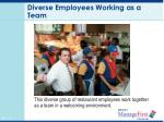 diverse employees working as a team
