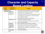 character and capacity based lending