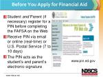 before you apply for financial aid