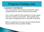program funding cont