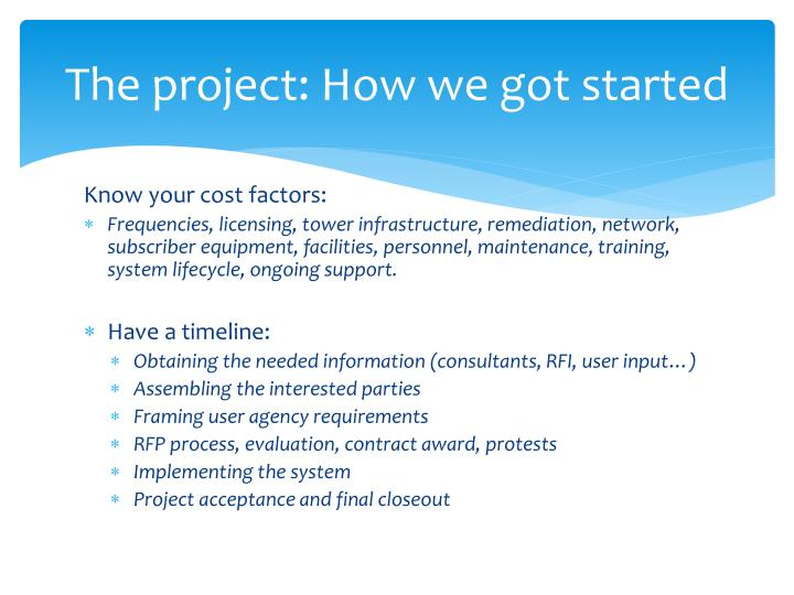 The project: How we got started