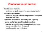 continous vs call auction