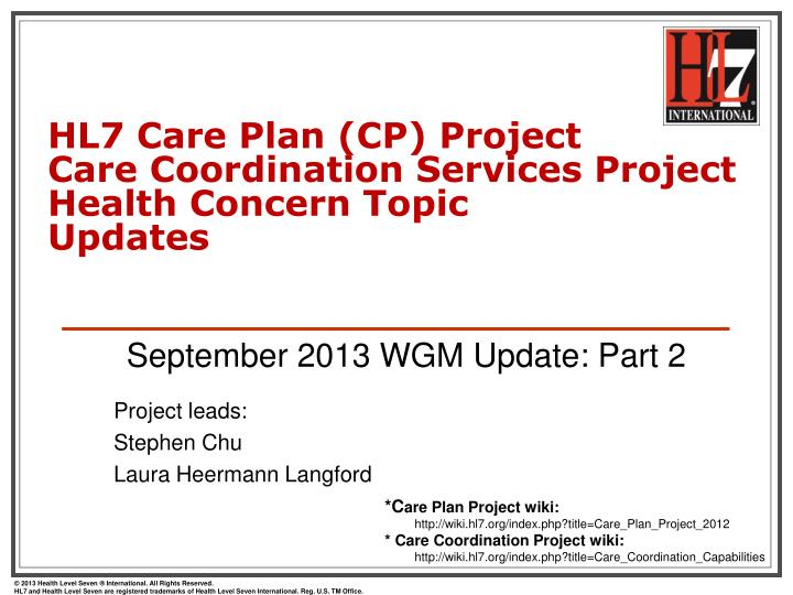 hl7 care plan cp project care coordination services project health concern topic updates n.