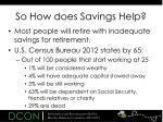 so how does savings help