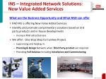 ins integrated network solutions new value added services