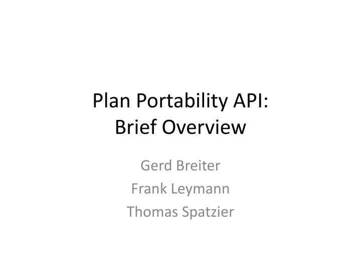 plan portability api brief overview n.