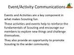 event activity communications