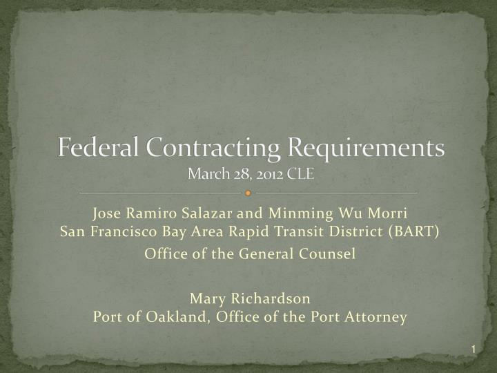 federal contracting requirements march 28 2012 cle n.