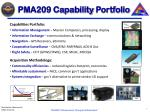 pma209 capability portfolio