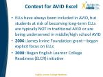 context for avid excel1