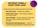 different forms of short term loans