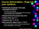 course deliverables page 6 8 of your syllabus