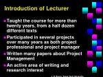 introduction of lecturer