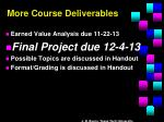 more course deliverables