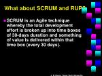 what about scrum and rup