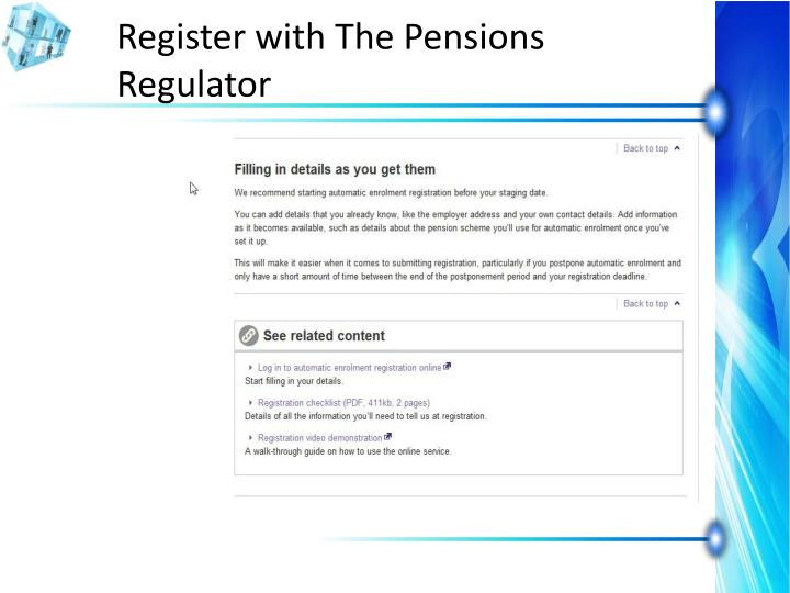 Register with The Pensions Regulator