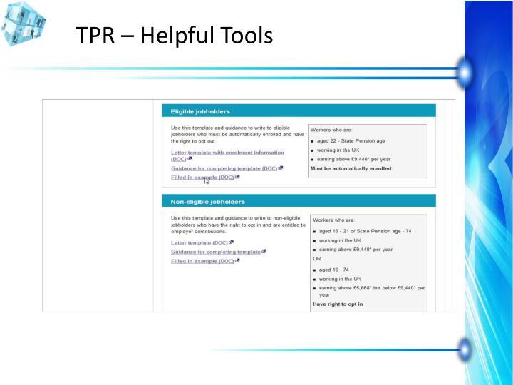 TPR – Helpful Tools