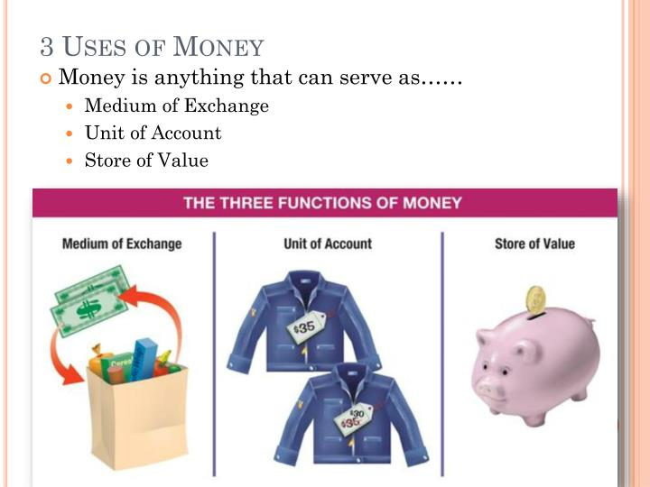 the three functions of money are medium of exchange