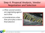 step 4 proposal analysis vendor negotiation and selection