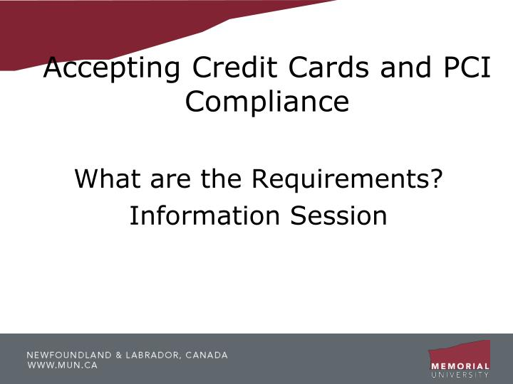 accepting credit cards and pci compliance n.