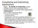 completing and submitting applications