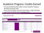 academic progress credits earned
