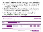 general information emergency contacts