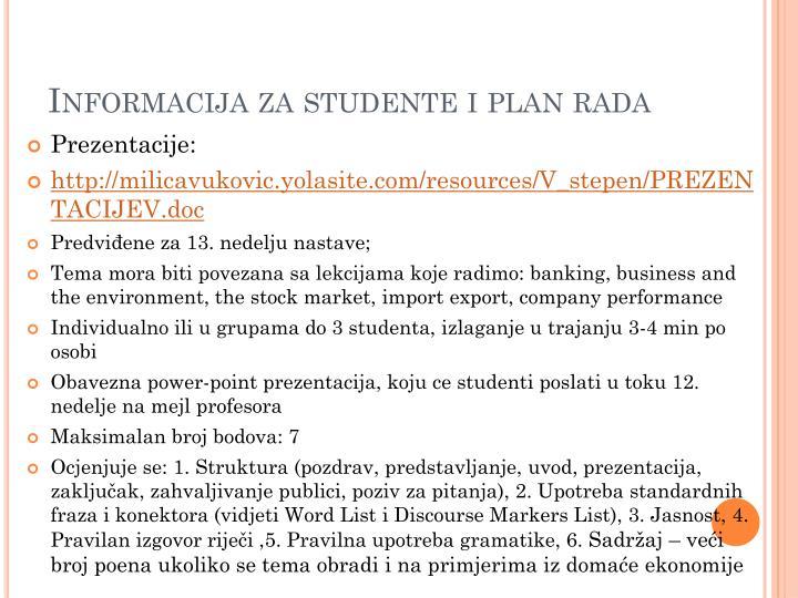 Informacija za studente i plan rada1