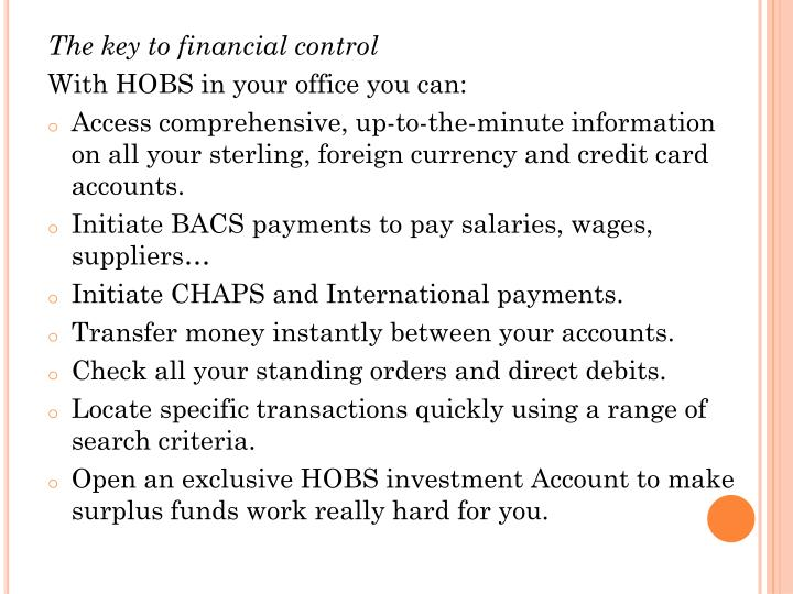 The key to financial control