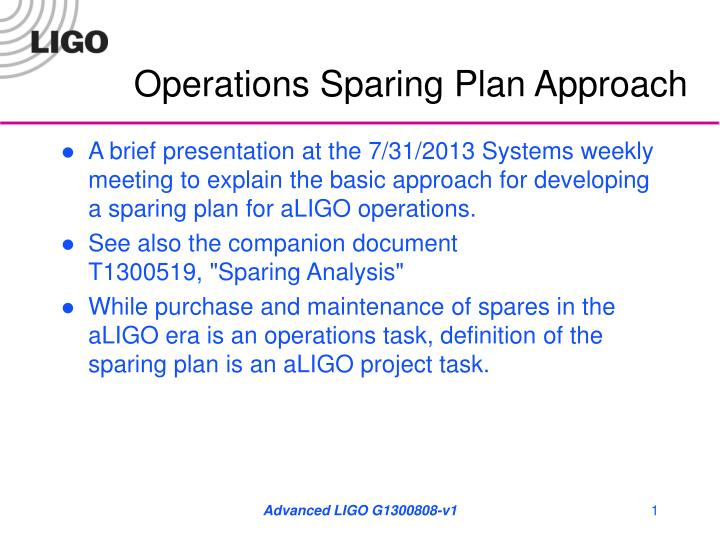 operations sparing plan approach n.