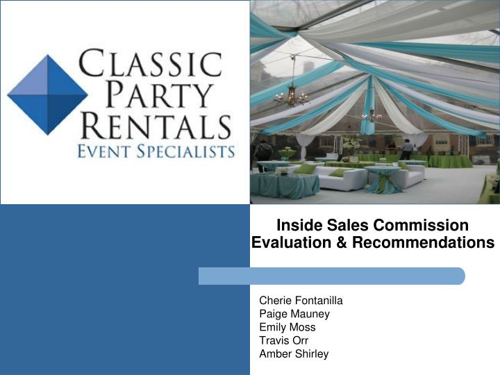 inside sales commission evaluation recommendations n.