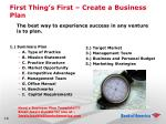 first thing s first create a business plan