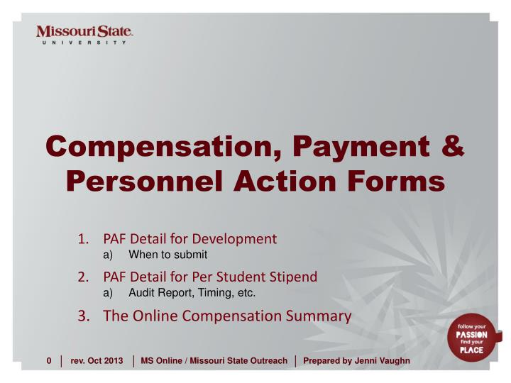 compensation payment personnel action forms n.