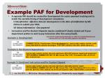 example paf for development