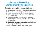 history of marketing management philosophies